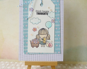 Handmade Layered Friendship Card - Think Happy Thoughts