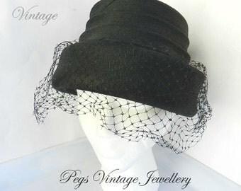 Vintage 40s Hat BLACK Ladies Funeral Veil/Net, Mesh Pill Box Hat/ United Hatters Cap & Millinery Canada Union