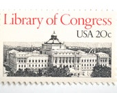 10 Unused 1982 Library of Congress Postage Stamps // Libraries // Vintage Red and Black and White // 20 Cent Stamps