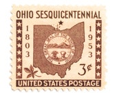 10 Unused Ohio Vintage Postage Stamps // Map of Ohio // 1950s Postage Stamps for Mailing