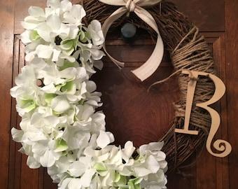 Grapevine Wreath with White Hydrangeas