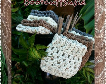 Crochet boot cuffs, in Oat, Latte, Creme & Gray, Packaged for gift giving :)