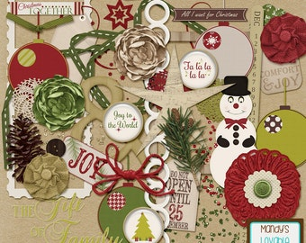 Classic Christmas Digital Elements - Cardmaking, Invitations, Holiday Crafts, DIY - Embellishments, Graphics - Holiday Art - High Quality