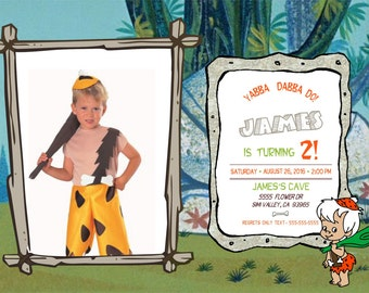 Bam Bam from Flintstones Digital Invitation