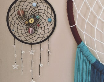 Solar system space dream catcher with hand painted planet beads. 15cm hoop diameter black dreamcatcher hand made