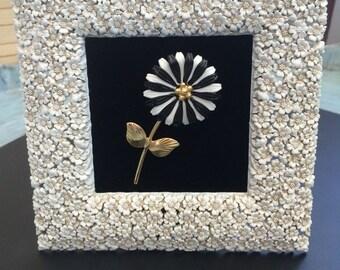 Framed Vintage Flower Brooch Art