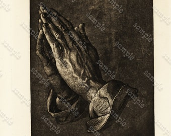 Original Antique Steel engraving of Human Hand  Black and White on a heavy stocky paper.  Praying hands