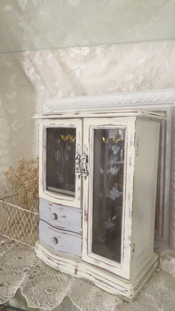 Shabby Antique White Jewelry Box Grey Ivory Jewelry Armoire