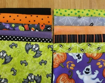 Halloween Fat Quater Bundle Bats Spiders and Ghosts Oh My! Super  Sale!