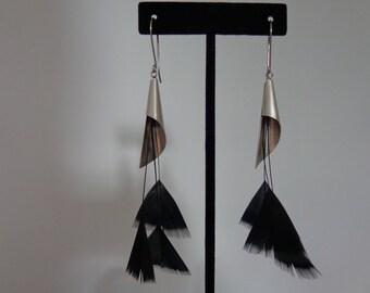 Long Dangle Silver Earrings, Long Black Dangle Earrings, Geometric Earrings, Fan Earrings, Long Geometric Earrings, Long Dangle Fan Earrings