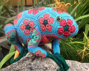 Custom Handmade Crochet African Flower Frog Prince or Princess