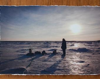 Nunavik Dog Team 12.5x19 inch giclee fine art photography print with torn edge