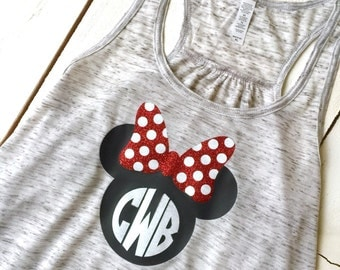 WOMENS Minnie Mouse Bow Loose Racerback Tank Top Disney Trip Bachelorette Party Family Reunion