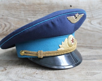Vintage Soviet Army Cap, Soviet Officer's Military Hat Cap  Military Hat Cap