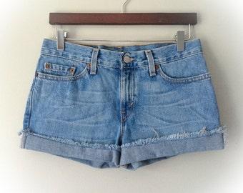 Levi's Shorts Vintage Levis Cut Off Shorts Levi Shorts Low Mid Rise Denim Cutoffs Distressed Zip Fly Jean Shorts 4 5 6 7 Small Medium Junior