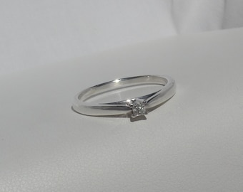 Princess Cut Diamond Solitaire Engagement Ring in Platinaire Size 9.5