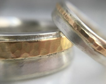 Recycled 14k hammered gold & silver weddig bands/Wide hammered wedding bands/Rustic hammered wedding band set