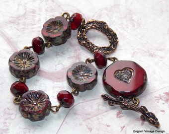 Red Czech Glass Flower Bracelet, Rustic Bracelet, Artisan Bronze Bracelet, Red Vintage Style Bracelet, Women's Bracelet, Red Flower Bracelet