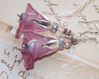 Lucite Flower Earrings, 'Pink Sherbert', Victorian Earrings, Boho Earrings, Drop Earrings, Handmade Earrings, Pink Earrings, Dangle Earrings