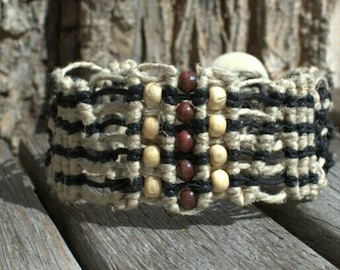 Hemp cuff bracelet with wood beads