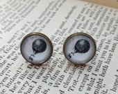 Hot air balloon earrings antique bronze studs 12mm cabochon vintage steampunk travel