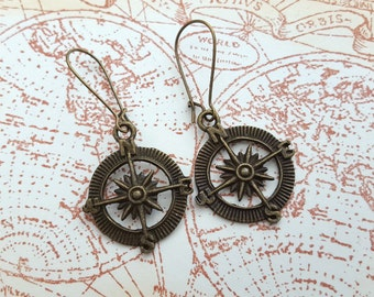 Compass charm earrings, antique bronze, pirate, nautical, travel
