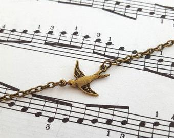 Swallow bracelet, bird bracelet antique bronze charm, vintage inspired style, dainty chain