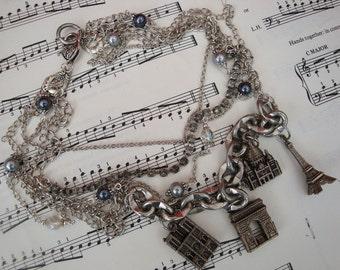 Vintage Paris necklace, statement charm assemblage necklace, Paris Landmarks repurposed upcycled layered