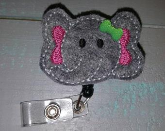 Elephant feltie retractable badge holder reel