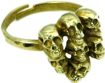 Skull Gold Ring Gold Skull Ring Mens Skull Ring WOmens Skull Ring  Gold Mens Ring Gold Circle Ring Cool Ring Formal Ring Designer Ring 53B