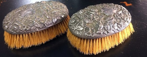 Sterling Silver Brushes Horsehair engraved clothing brushes