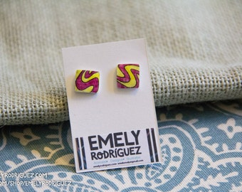 Yellow and Magenta Retro Pattern Square Stud earrings