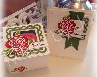 Box and map with red rose. Digital cutting file