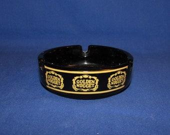 GOLDEN NUGGET ASHTRAY Black and Gold Vintage Vegas