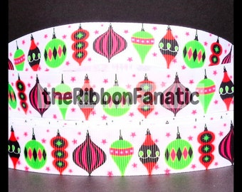 "5 yds 7/8"" Christmas Ornaments Red Lime Green Shocking Pink Black Grosgrain Ribbon"