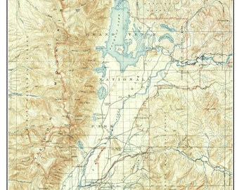 Grand Teton National Park & Jackson Hole ca 1900 Custom USGS Composite Map  Reprint Wyoming