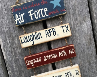 MINI Version! Home is Where The Military Sends Us - Hand Painted Billet Sign with Duty Station - RCMP or U.S. Mil Branches