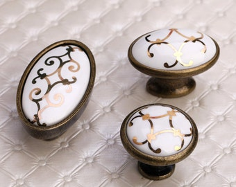Rustic Cabinet Knobs Ceramic Knobs Cabinet Knobs / Dresser Pulls Knobs  Drawer Knobs Pulls Handles White