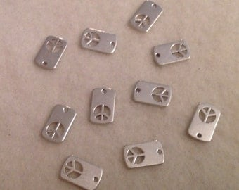 Peace Tab Charms / Double Sided (10)