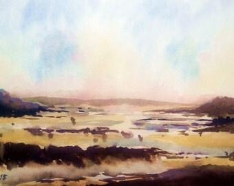 Original watercolor Low tide sunset original watercolor sea decor