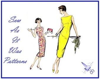 "1950s Vogue 9429 Sleeveless Fitted Sheath Dress or Jumper Bateau Neckline Vintage Sewing Pattern Misses' Size 14 Bust 34"" 83cm"
