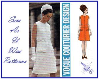 1960s Vogue Couturier Design 1916 Pertegaz Spain Sleeveless Mod Dress Welts High Round Neckline Vintage Sewing Pattern Size 10 Bust 32 33