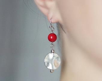 Silver Red Earrings, Silver Dangle Earrings, Minimalistic Earrings, Red Bead Earrings, Everyday Earrings, Unique Gift, Red, Silver Earrings