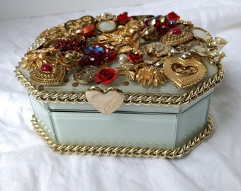 Golden Hearts & Flowers Jewelry Box
