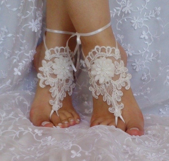 Free ship ivory 3D flower  wedding barefoot sandals wedding prom party  bangle beach anklets bangles bridal bride bridesmaid