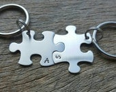 Customizable Puzzle Piece Key Chains Monogram key chain INITIALS  Hand Stamped  -Bridesmaids - Best Friends