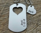 Couples Necklace Set Dog Tag with Heart Cutout Initials and Date Hand Stamped with custom date His and Her Necklace set