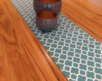 Quatrefoil Table Runner  - Teal/Blue 1.8m long