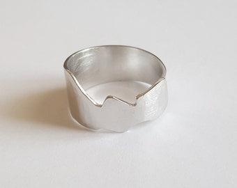 flash cut silver ring
