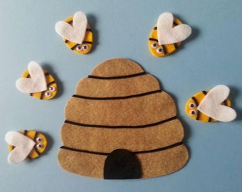 Here is the Bee Hive PDF Pattern  Felt Board Set Farm Insects Counting 5